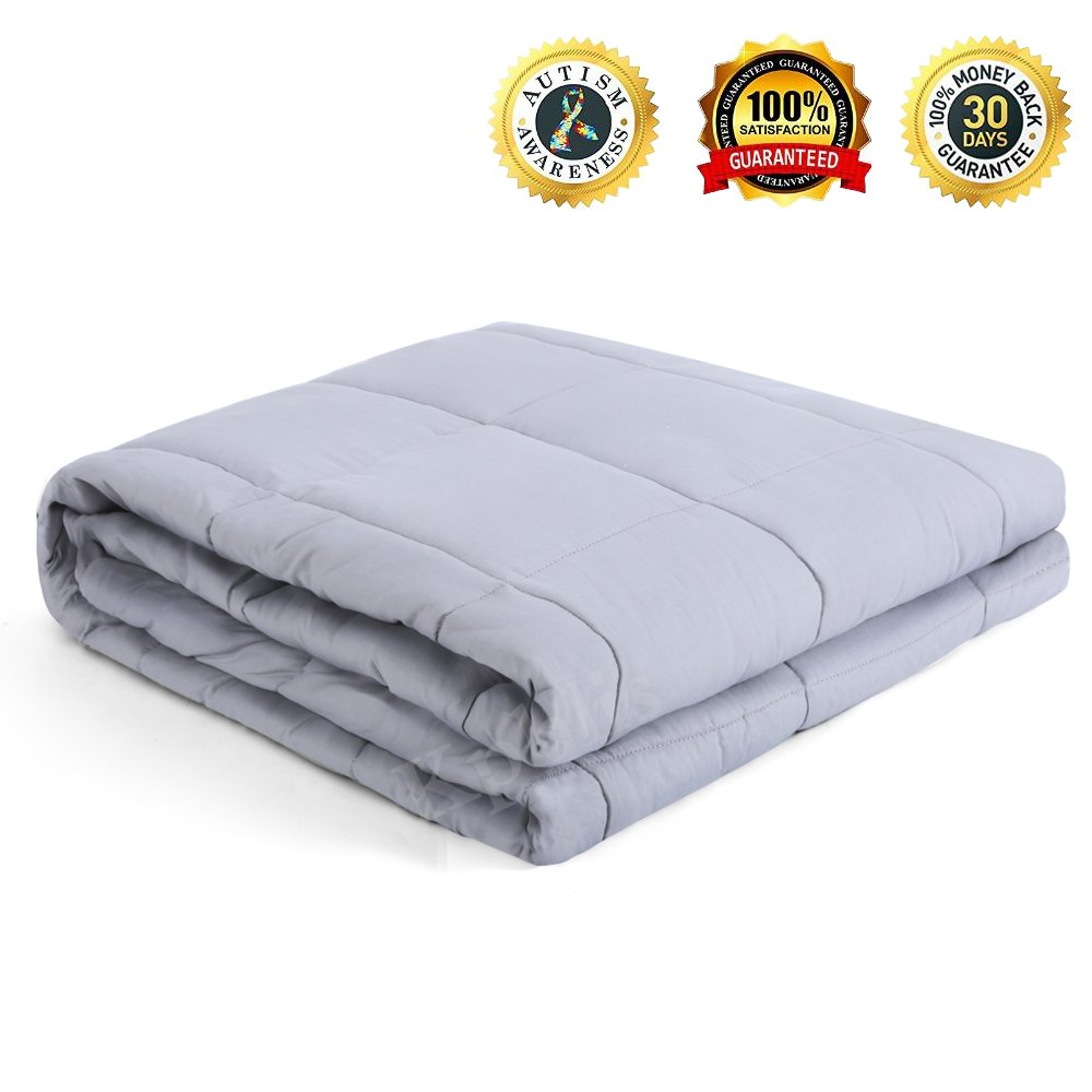 Weighted Sensory Blanket Gravity Sensory Heavy Throw Cotton Cozy Bed Blankets Adults Kids for Calming Comfort Deeper Better Faster Sleep Reduce Stress Anxiety Relaxing Muscles 40''x60''-10 LB