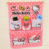Dix-Sept Wall Hanging Storage Bag 5 Pockets Home Organizer Fashion Cute Style Hello Kitty, Bear, Doraemon Great Storage Solution for Storing Shoes, Toys, Tools and Other Small Assessories (Hello Kitty Pink)