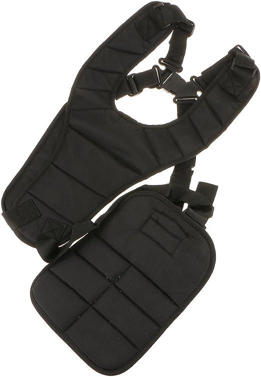 Nylon negro doble hombro correa arnés acolchado para cortacésped ...
