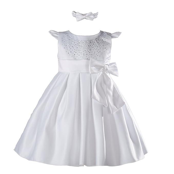 Cinda Bebé niña bautizo vestido de fiesta con la venda Blanco 0-3 Meses
