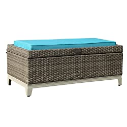 Orange Casual OC Outdoor Aluminum Frame Resin Wicker Storage Bench Box with Tea Table Function & Seat Cushion, Gray Rattan and Blue Cushion