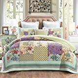 DaDa Bedding VE-Jhw-604-K the Floral Gardens Patchwork Quilted Bedspread Set, King, Multicolored