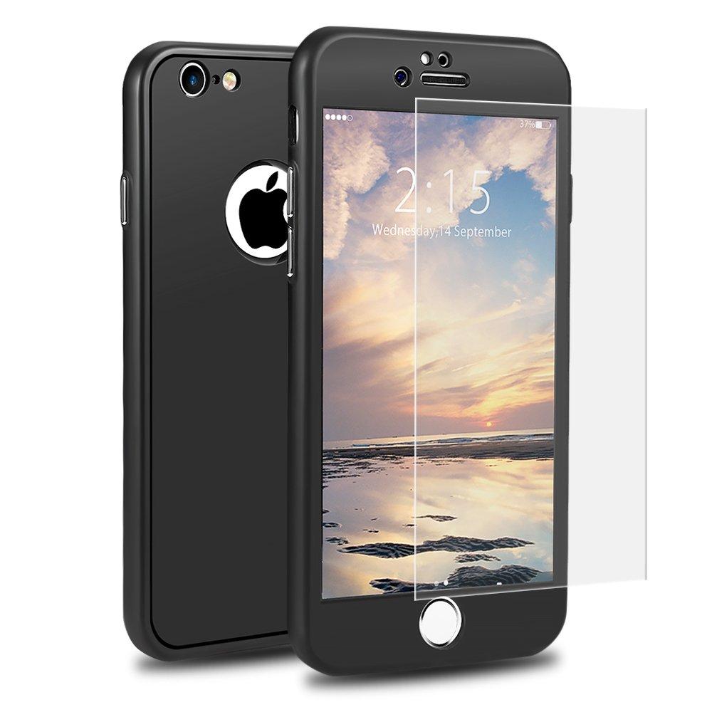Funda iPhone 6 360 Grados Integra, SKYEE Carcasa iPhone 6 delantera y traseradura Silicona con Cristal Vidrio Templado,TPU Case Cover bumper protección para Apple iPhone 6/6s - Negro PST-CAS360-IP6