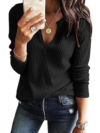 3157aaa4756 Mafulus Womens Long Sleeve Waffle Tops Casual V Neck Loose Henley Shirts  Tunic at Amazon Women's Clothing store: