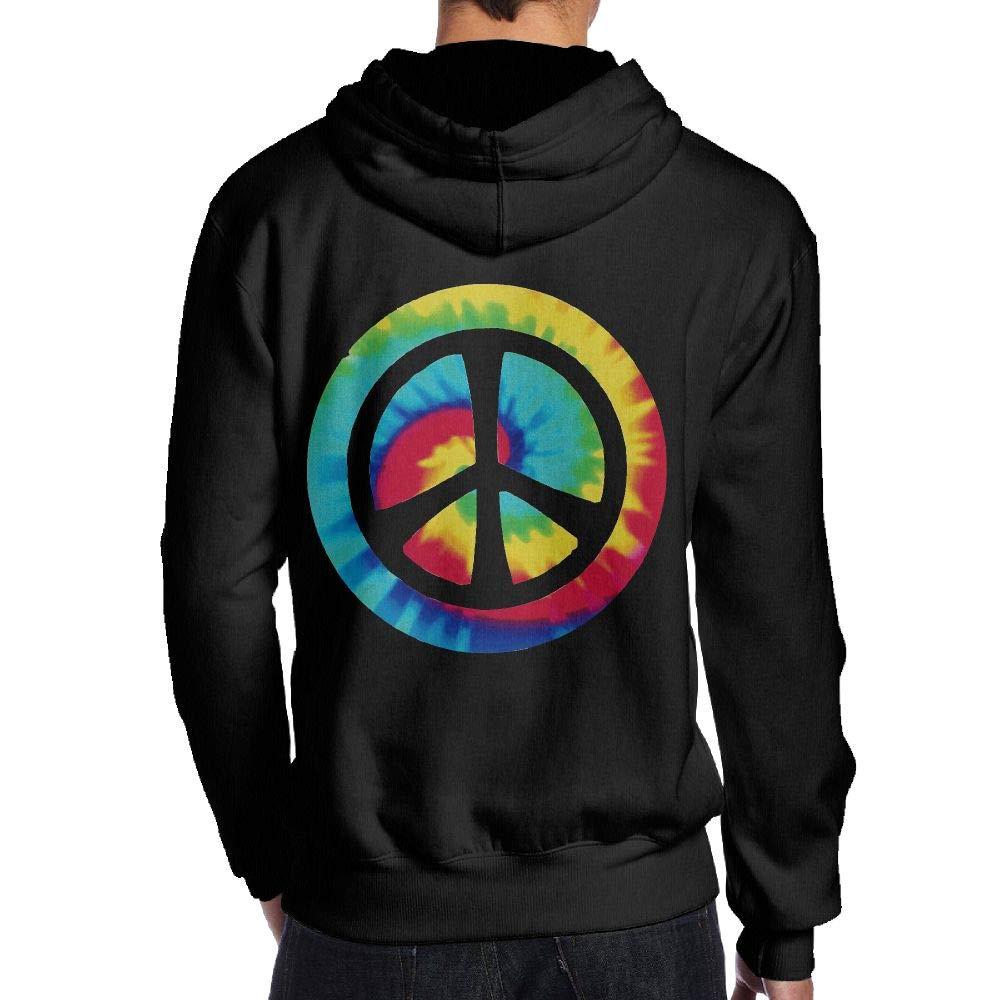 JHDKDGH-N Tie Dye Peace Sign Back Print Long-Sleeved Hoody for Men