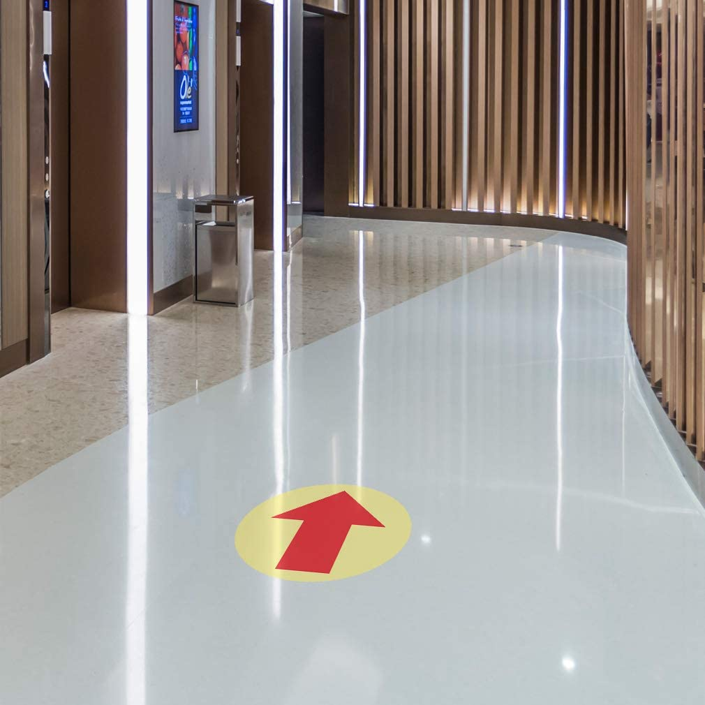 Arrow up Signs Floor Decals Red Tan Anti-Slip Round Shape B Business Industrial Symbols Stickers 24Inches Longer Side