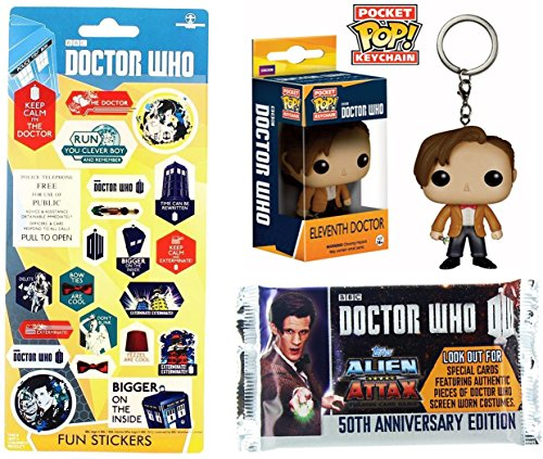 Doctor Who 11th Dr. Figure Mini Character Keychain Pocket Pop! & Graphic Stickers + Cards Alien Attax Pack / Funko Eleventh Doctor (Special Forces Folder)