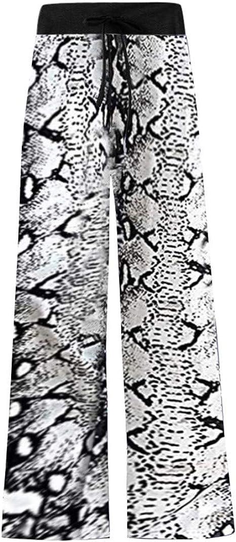 Dainzusyful Women Wide Leg High Waist Pants Comfy Casual Pajama Palazzo Long Loose Casual Pants Yoga Trousers