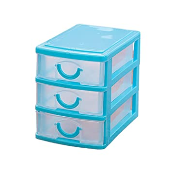 Multi Layer Mini Plastic Desktop Storage Drawer Organizer Storage Boxes (3  Layers, Blue