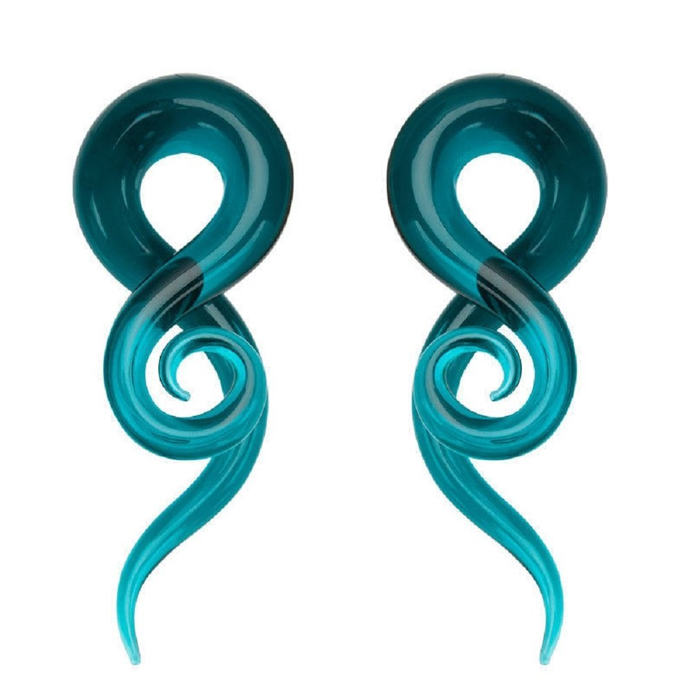 Blue Ear Teal Glass Spiral Tapers Plugs Tunnels Expander Gauges Earrings Stretching Hanger Piercings Body Jewelry Changgaijewerly
