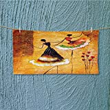 SeptSonne Soft Luxury Towel oil painting spanish dance Absorbent Ideal for everyday use L27.5 x W13.8 INCH