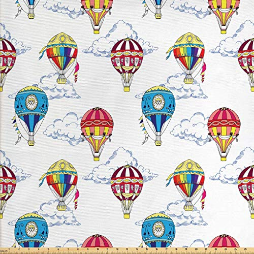 - Ambesonne Colorful Fabric by The Yard, Hand Drawn Sketches Clouds and Hot Air Balloons Kids Playroom Nursery, Decorative Fabric for Upholstery and Home Accents, 1 Yard, Multicolor