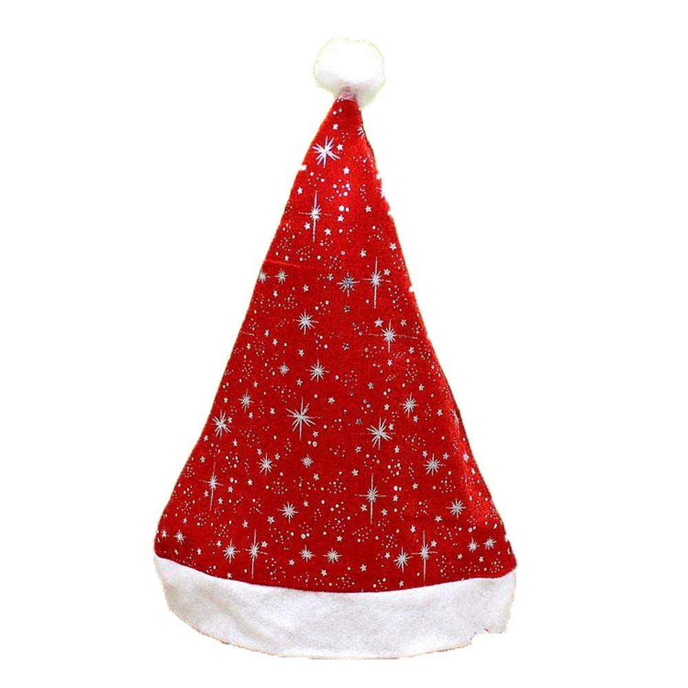 GREFER Christmas Hats Xmas Cap For Santa Claus Gifts (38cmX29cm, Red)