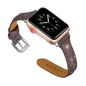 6ad1f8335 For Apple Watch Bands for Women Brown, Apple Watch Band 38mm 40mm Leather  Glitter Bling