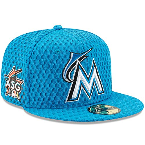 New Era 5950 Home Cap - New Era MLB 59Fifty Miami Marlins 2017 All Star Game Home Run Derby Fitted Cap, Blue, 7 1/8