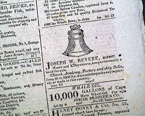 Newspaper Daily Advertiser ((2) PAUL REVERE SON Joseph Warren Copper Company Bell Foundry ADS 1822 Newspaper BOSTON DAILY ADVERTISER, March 12, 1822)