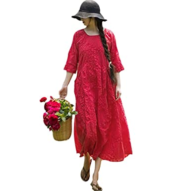 c0d2c422424 BUYKUD Womens Loose Casual Cotton Summer Red Dress at Amazon Women s ...