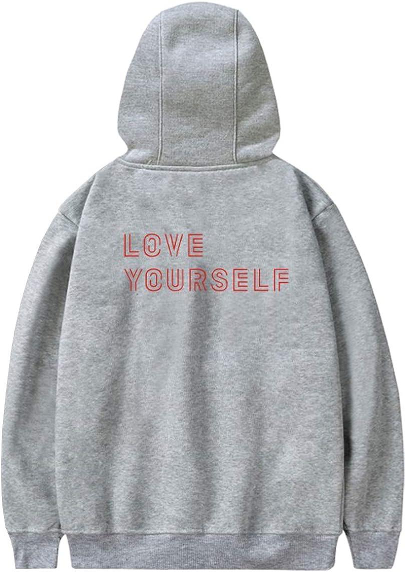 EMILYLE Donna Hoodie BTS World Tour Love Yourself Stampa Felpa con Cappuccio