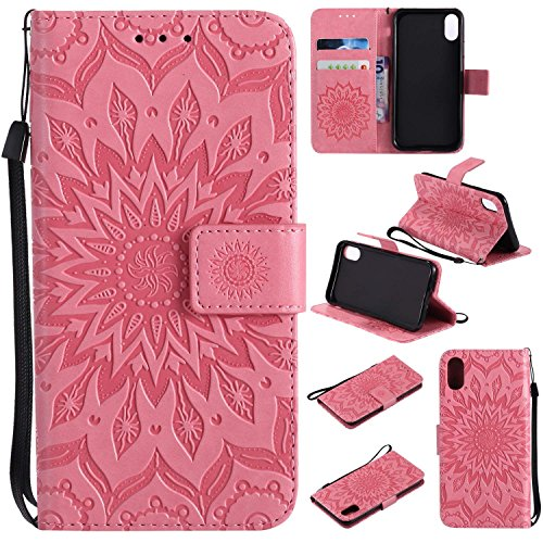 Price comparison product image iPhone X Case,  PU Leather Wallet Flip Cover,  with Card Slot Magnetic Stand Feature Protective Cover (iPhone X,  Pink)