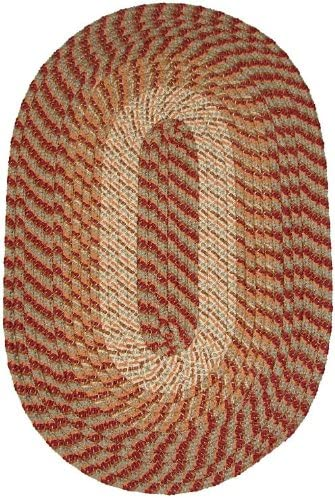 Constitution Rugs Plymouth 5 x 8 Oval Braided Rug in Sunset Copper