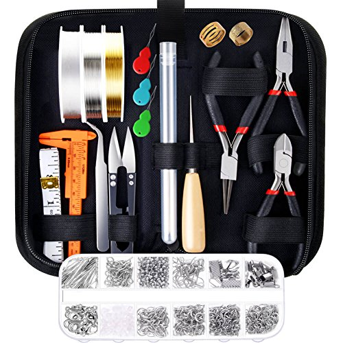 Paxcoo Jewelry Making Supplies Kit with Jewelry Tools, Jewelry Wires and Jewelry Findings for Jewelry Repair and Beading -