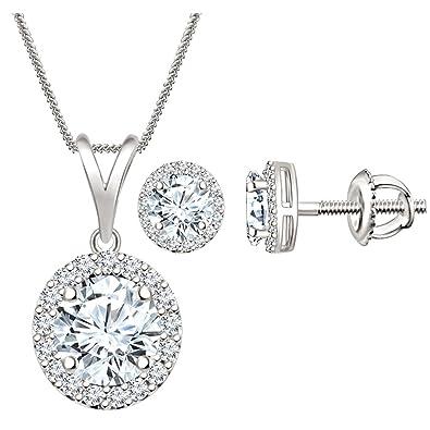 6fadc4f303567 Amazon.com: Silvernshine Jewels Man Made Diamond Halo Pendant ...