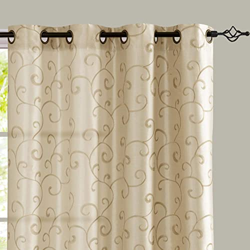 jinchan Curtains Ivory 95 inches Living Room Drapes Faux Silk Dupioni Swirl Embroidery Grommet Top Window Treatment Set Embroidered Drapery Bedroom Curtain Set 2 Panels