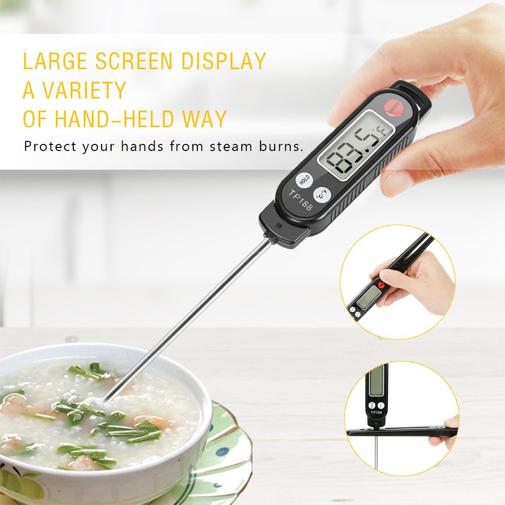 Meat Thermometer, totobay Food Thermometer Instant Read Thermometer Cooking Thermometer with Long Probe for Kitchen Cooking BBQ Grill Smoker Meat Fry Food Milk Yogurt (Black) by totobay (Image #3)