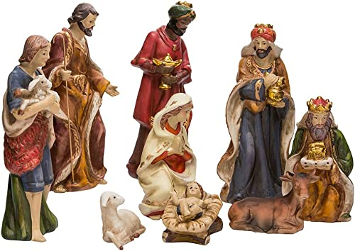 Kurt Adler 9-Inch Porcelain Nativity Figure Tablepiece Set of 9