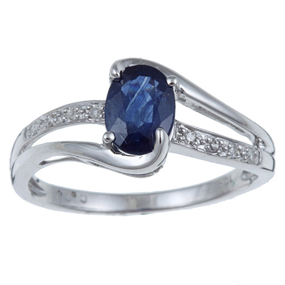 10k Rhodium-Plated White Gold Oval Blue Sapphire and Split-Shank Diamond Ring