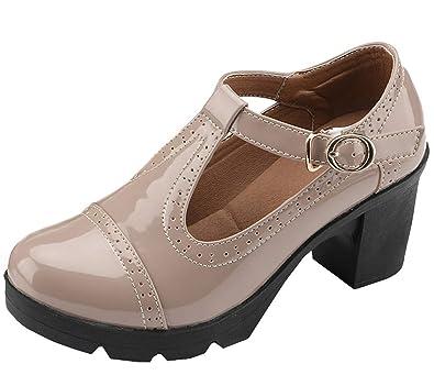 761600e912b DADAWEN Women s Classic T-Strap Platform Mid-Heel Square Toe Oxfords Dress  Shoes Apricot