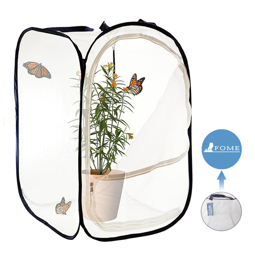 Insect and Butterfly Habitat,FOME Foldable Light-transmitting Butterfly Habitat Terrarium Pop-up 15.7x15.7x23.6in Butterfly Terrarium for Kids Butterfly Cage Mesh Insect Cage for Raising Insects