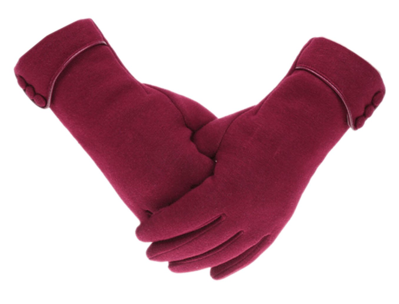 Tomily Womens Touch Screen Phone Fleece Windproof Gloves Winter Warm Wear (Wine Red)