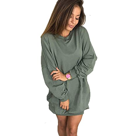 Women Hoodie Sweatshirt Casual O-Neck Loose Oversized Hoodie Dress Autumn Long Sleeve Hoodies Sweatshirts Sweat Femme S-XL at Amazon Womens Clothing store: