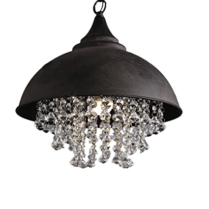 Industrial Wrought Iron Vintage Retro Crystal Pendant Light - LITFAD Adjustable 14u0026quot; Edison Metal Hanging  sc 1 st  Amazon.com & Industrial Wrought Iron Vintage Retro Crystal Pendant Light - LITFAD ...