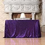 Poise3EHome 50x50 Square Sequin Tablecloth for Party Cake Dessert Table Exhibition Events, Purple
