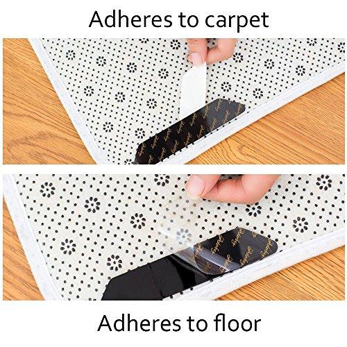 Rug Grippers Keeps Your Rug in Place Carpet Grips Flatten Corner Curling - Adorbay Carpet Corner Gripper Slip Grip Reusable Grippers 10 pcs (Black) by Adorbay (Image #5)