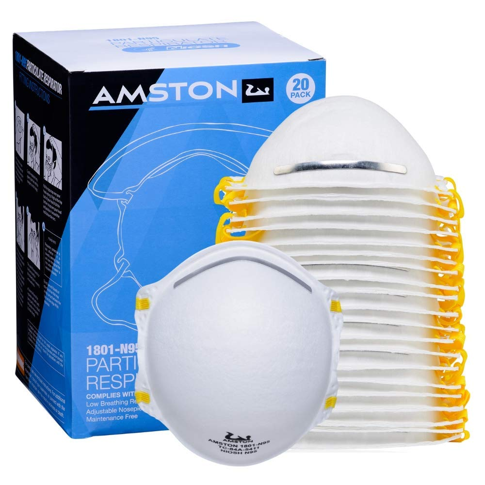 Amston Tool Company N95 Disposable Protective Dust Mask Particulate Respirator | NIOSH Approved (2 Packs, 40 Qty) White