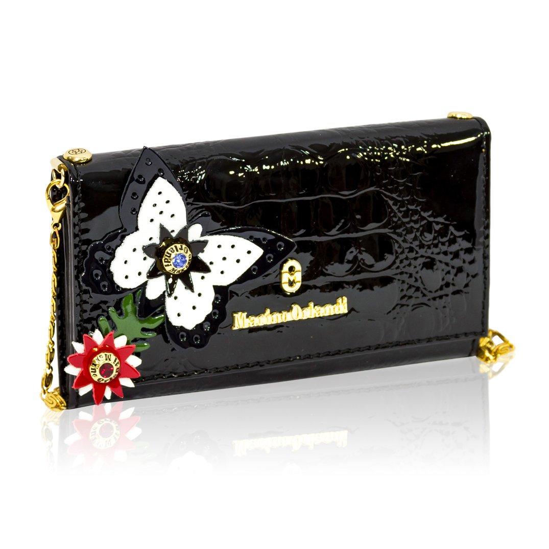Marino Orlandi Italian Designer Black Alliagor Embossed Wallet Clutch w/Chain