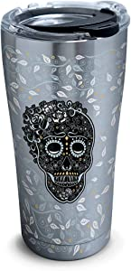 Tervis 1270640 Fiesta - Skull and Vine Stainless Steel Tumbler with Clear and Black Hammer Lid 20oz, Silver
