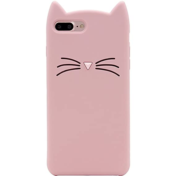 amazon com iphone 7 plus case, mc fashion cute 3d pink meow partyiphone 7 plus case, mc fashion cute 3d pink meow party cat ears kitty whiskers