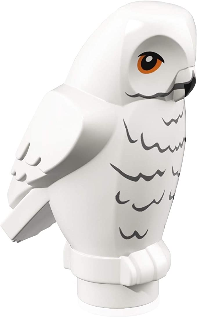 LEGO Figura decorativa de Harry Potter: búho, características angulares con pico negro, ojos amarillos y patrón de plumas de pecho ondulado gris ...