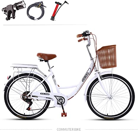 GHH Bicicleta Summer para Mujer 7 Speed/26 Elegance Bicicleta Urbana Blanco con una Canasta City Bike con Luz de Noche, Candado de Bicicleta, Bomba de Aire: Amazon.es: Deportes y aire libre