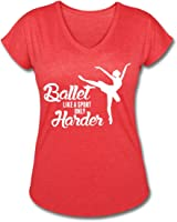 Ballet Quote Women's V-Neck Tri-Blend T-Shirt by Spreadshirt, L, heather red