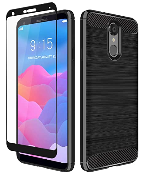 new product b398d 8a69f LG Q7+ Case, LG Q7 Case, Aoways Tempered Glass Screen Protector, Thin  Texture Carbon Fiber Shockproof Soft TPU Lightweight Protective Cover for  LG Q7 ...