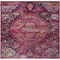 Safavieh Crystal Collection CRS512S Fuchsia Pink and Purple Distressed Bohemian Medallion Area Rug (7' Square)