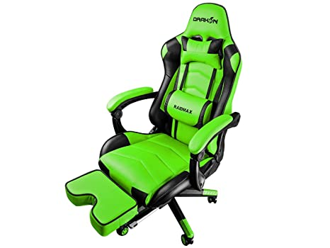 Raidmax DK709 Drakon Gaming Chair Ergonomic Racing Style Pu Leather Seat, Headrest with Foldable Foot/Leg Rest (Green)