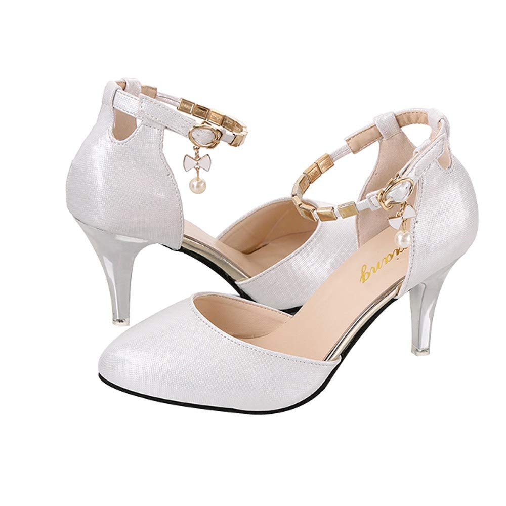 Shoes For Women, Clearance Sale !! Farjing Sexy Fashion Shallow Mouth Slim Stiletto Heels Wild Word Band Single Shoes(US:8.5,White )