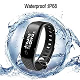 CESSBO CB608 Smart Bracelet Fitness Tracker Healthy Band 0.95'' OLED Smart Wristband Touchpad Heart Rate Monitor Smart Tracker for Android and IOS in Stock (Black)