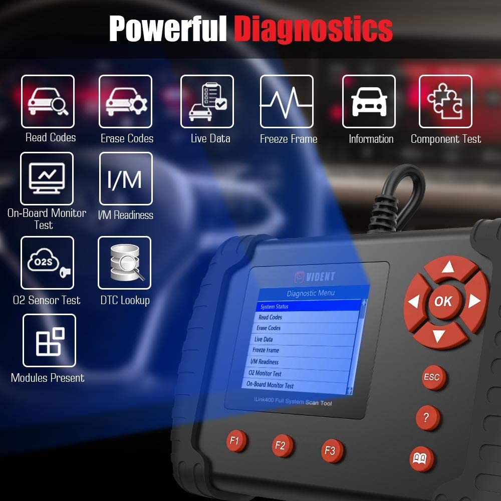 VIDENT iLINK400 OBD2 Code Reader Scanner Auto Full System Diagnostic Scan Tool Support ABS,SRS,EPB,DPF Regeneration,Oil Reset